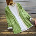 Smiley Face Embroidered Striped Cardigan