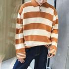 Placket Color Block Sweater