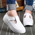 Genuine-leather Platform Cutout Velcro Sneakers