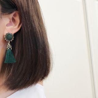 Tasseled Buttoned Earrings