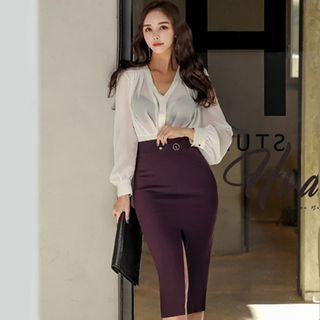 V-neck Blouse / Midi Pencil Skirt