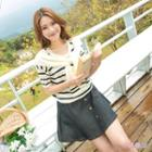 Inset Scarf Short-sleeve Striped Top