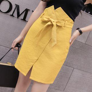 Tie-waist Straight-fit Skirt