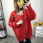Patch Embroidered V-neck Sweater