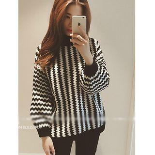 Striped Lantern Sleeve Sweater