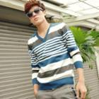 V-neck Striped Knit Top