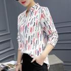 Stand Collar Printed Long-sleeve Shirt