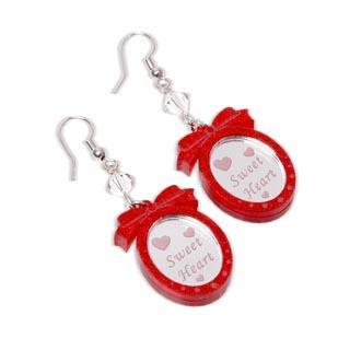 Red Glitter Sweet Heart Pendant Swarvoski Dangle Earrings