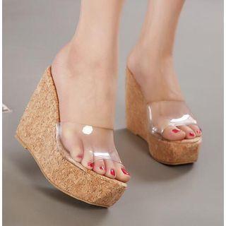 Pvc Panel Platform Wedge-heel Slide Sandals