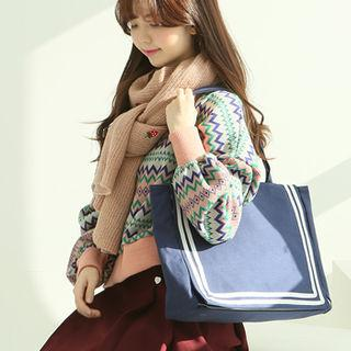 Marine Stripe Canvas Tote One Size