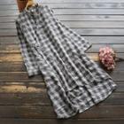 Long-sleeve Plaid Midi A-line Dress Plaid - Gray - One Size