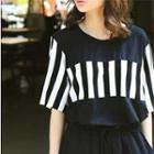 Short-sleeve Stripe-panel Long T-shirt