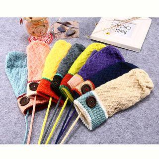 Button-accent Knit Mittens