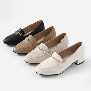 Horse-bit Heeled Loafers