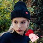 Heart Embroidered Knit Beanie