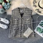 Geometric-pattern Tweed Vest