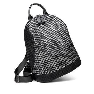 Patterned Faux Leather Backpack Black - One Size