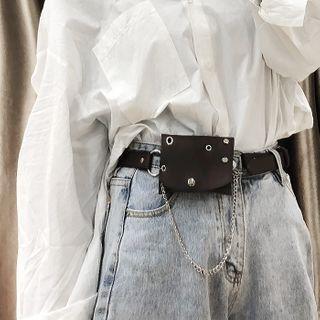 Faux Leather Chain Pouch Belt