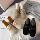 Bow Accent Fluffy Loafers