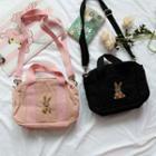 Rabbit Embroidered Canvas Crossbody Bag