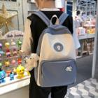 Bear Applique Two-tone Canvas Backpack