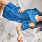 Cutout-shoulder Denim Mini Dress