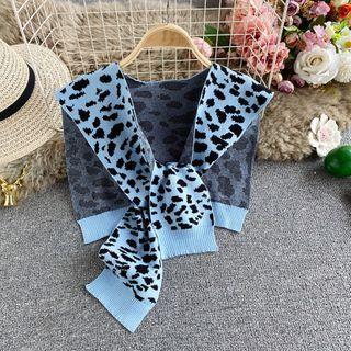 Leopard Jacquard Knit Shawl