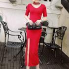 Elbow-sleeve Sheath Slit Midi Dress