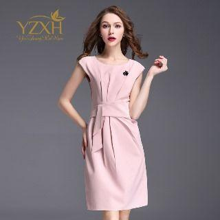 Sleeveless Pleated Sheath Dress