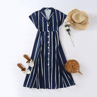 Cap-sleeve Striped A-line Shirtdress