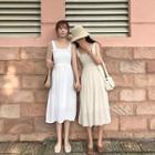 Shirred Midi Sleeveless Dress