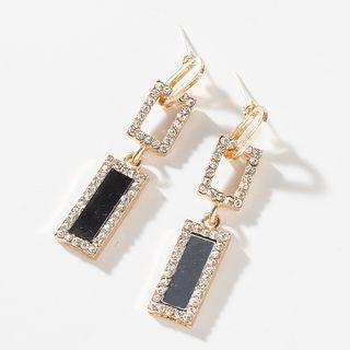 Rhinestone Rectangle Dangle Earring 1 Pair - Black - One Size