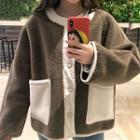 Color Block Furry Button Jacket