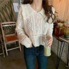 Crochet Knit Collared Sweater