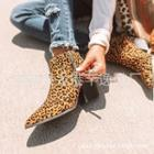 Pointy Chunky Heel Zip-up Short Boots