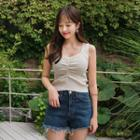 Shirred-front Cropped Camisole Top
