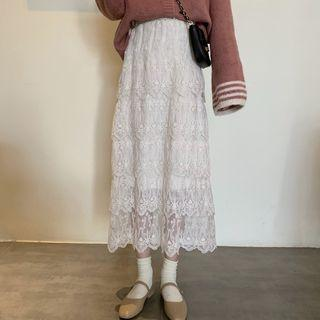 High-waist Layered Lace Skirt As Shown In Figure - One Size