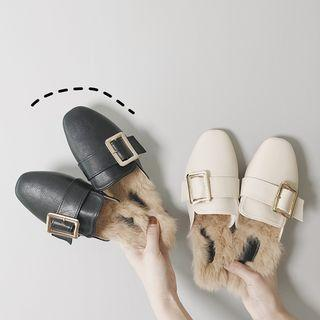 Furry Buckled Loafer Mules
