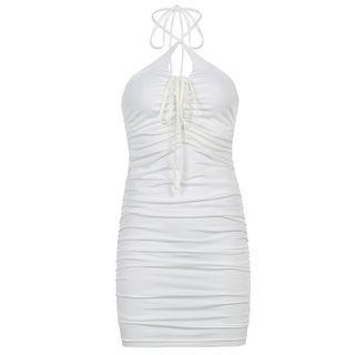 Halter-neck Ruched Mini Bodycon Dress