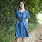 Dotted Short-sleeve Denim Dress