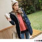 Print Trim Hooded Puffer Jacket