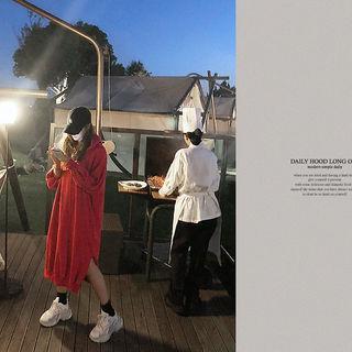 Raglan-sleeve Midi Hoodie Dress