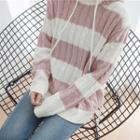 Striped Cable Knit Hoodie
