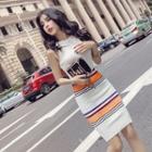 Halter Striped Knit Sheath Dress