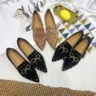 Bow Detail Studded Pointed Loafers