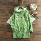 Hooded Buttoned Embroidered Knit Jacket
