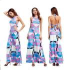 Patterned Maxi Halter Dress