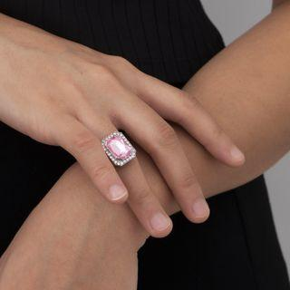 Rhinestone Ring 252 - Silver & Pink - One Size