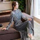 Lace Panel Long Sleeve Velvet Dress