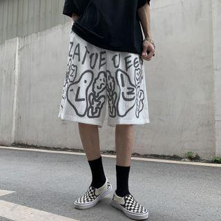 Cartoon Print Straight Cut Corduroy Shorts